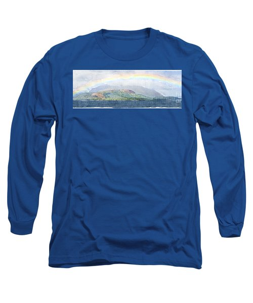 Rainbow Over The Isle Of Arran Long Sleeve T-Shirt by Liz Leyden