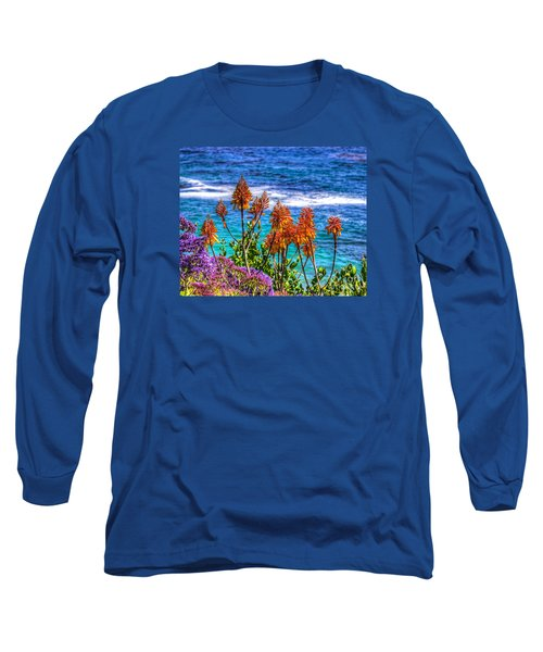 Long Sleeve T-Shirt featuring the photograph Red Aloe By The Pacific by Jim Carrell