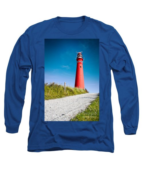 Red Lighthouse And Deep Blue Sky. Long Sleeve T-Shirt