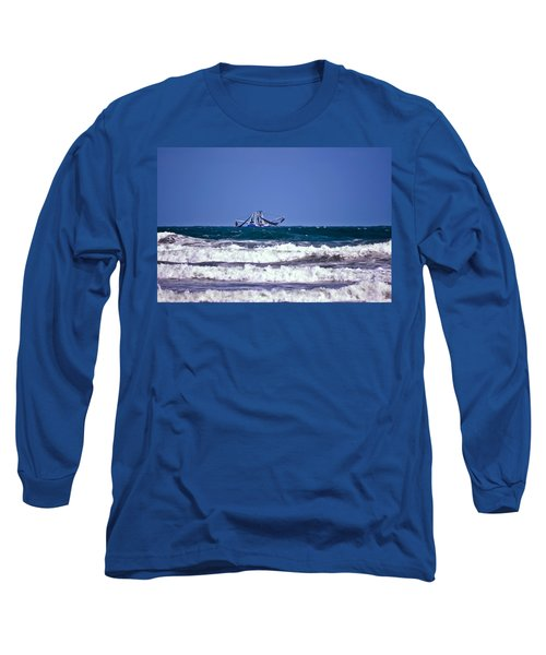 Long Sleeve T-Shirt featuring the photograph Rough Seas Shrimping by DigiArt Diaries by Vicky B Fuller