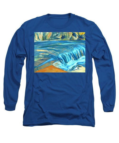 Long Sleeve T-Shirt featuring the painting Run River Run Over Rocks In The Sun by Betty Pieper