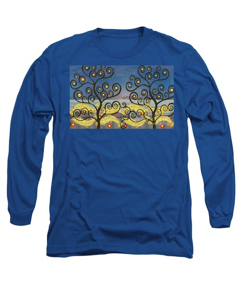 Long Sleeve T-Shirt featuring the digital art Salmon Dance Blue by Kim Prowse