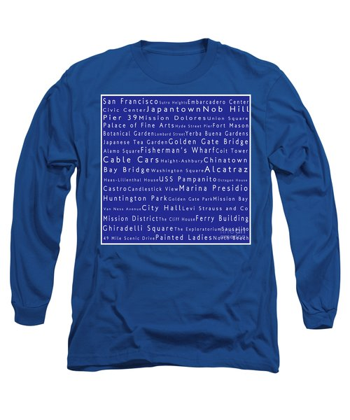 San Francisco In Words Blue Long Sleeve T-Shirt