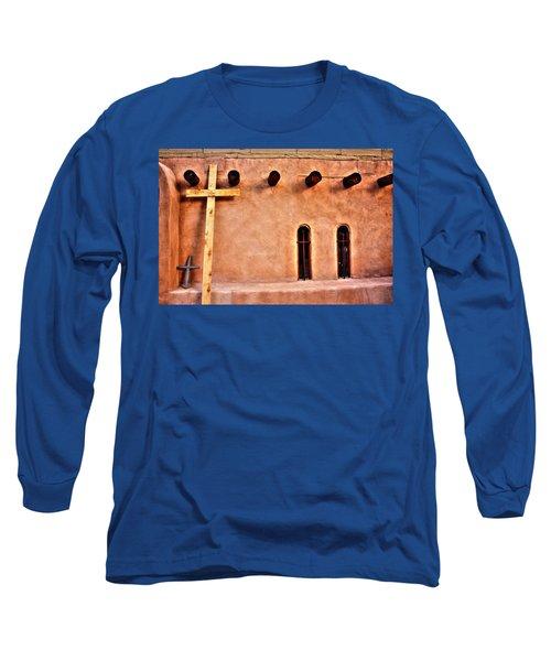Long Sleeve T-Shirt featuring the photograph Santuario Four Crosses by Lanita Williams