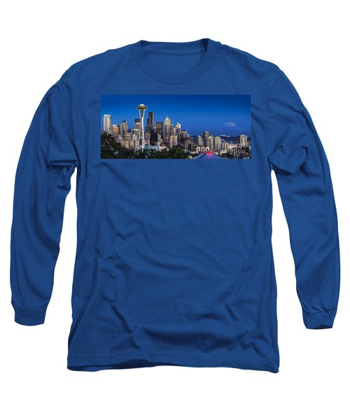 Seattle Skyline Panoramic Long Sleeve T-Shirt