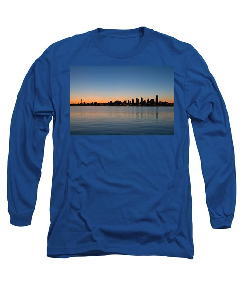 Long Sleeve T-Shirt featuring the photograph Seattle Washington Waterfront Skyline At Sunrise Panorama by JPLDesigns
