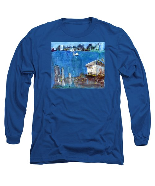 Long Sleeve T-Shirt featuring the painting Shack On The Bay by Betty Pieper