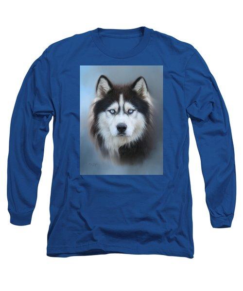 Siberian Husky Long Sleeve T-Shirt by Lena Auxier