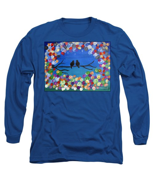 Long Sleeve T-Shirt featuring the painting Singing To The Stars Tree Bird Art Painting Print by Ella Kaye Dickey