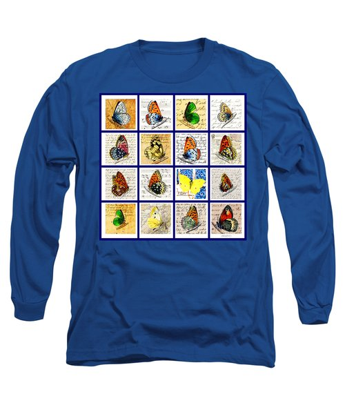 Long Sleeve T-Shirt featuring the painting Sixteen Butterflies by Marian Cates