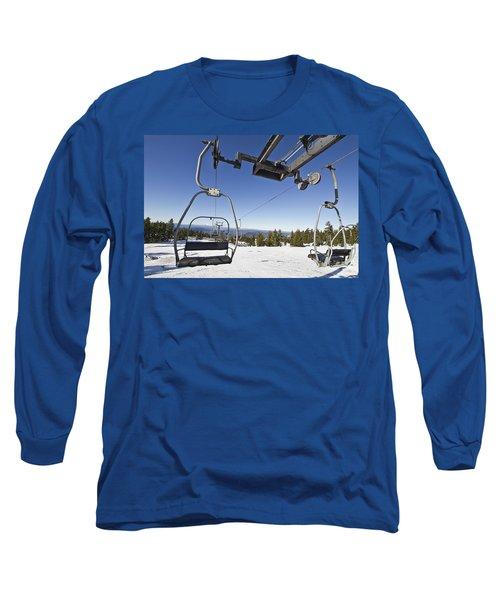 Ski Lifts At Mount Hood In Oreon Long Sleeve T-Shirt