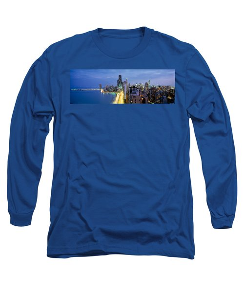 Skyscrapers Lit Up At The Waterfront Long Sleeve T-Shirt