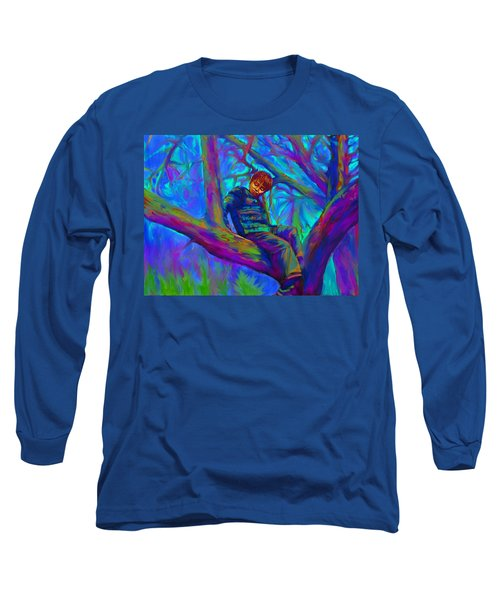 Small Boy In Large Tree Long Sleeve T-Shirt