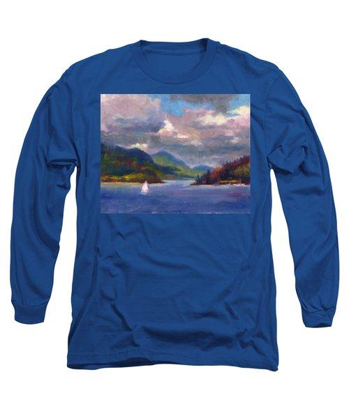 Smooth Sailing Sailboat On Alaska Inside Passage Long Sleeve T-Shirt