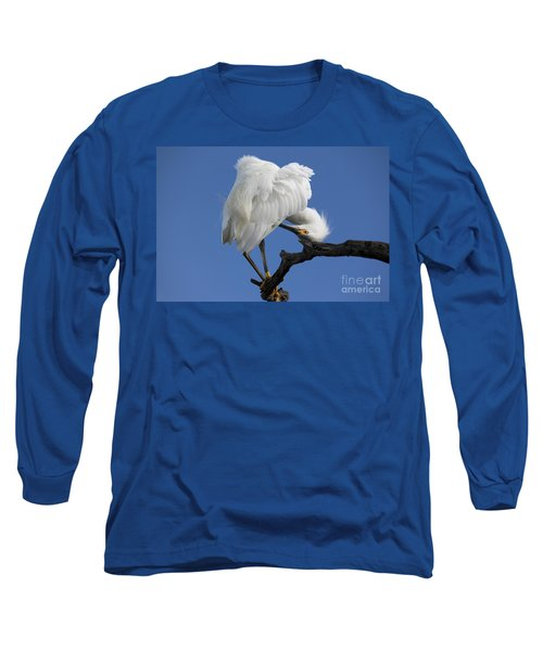 Long Sleeve T-Shirt featuring the photograph Snowy Egret Photograph by Meg Rousher
