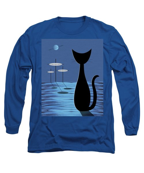 Space Cat In Blue Long Sleeve T-Shirt