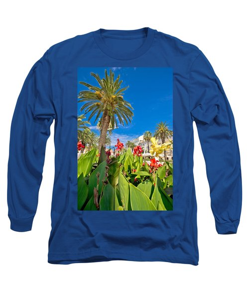 Split Riva Palms And Flowers Long Sleeve T-Shirt
