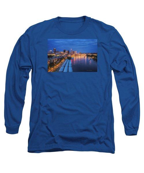 St Paul Skyline At Night Long Sleeve T-Shirt