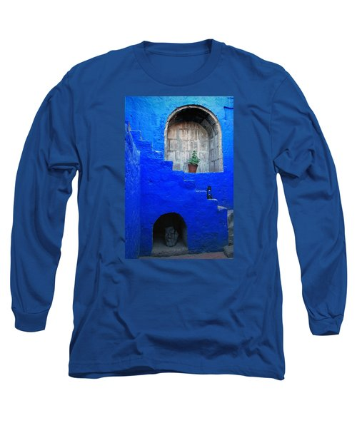 Staircase In Blue Courtyard Long Sleeve T-Shirt by RicardMN Photography