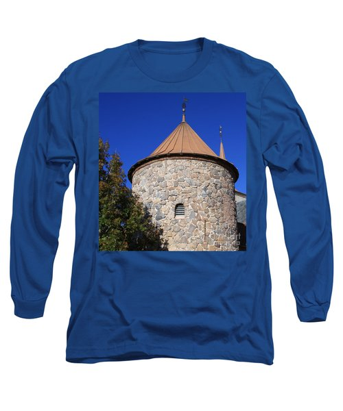 Long Sleeve T-Shirt featuring the pyrography Stone Tower by Chris Thomas