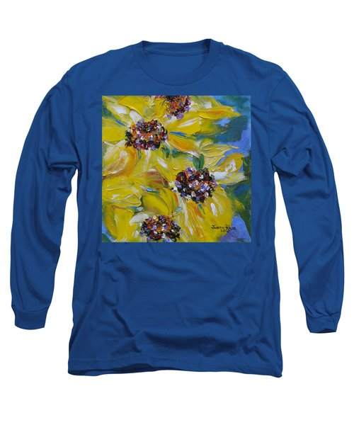 Long Sleeve T-Shirt featuring the painting Sunflower Quartet by Judith Rhue