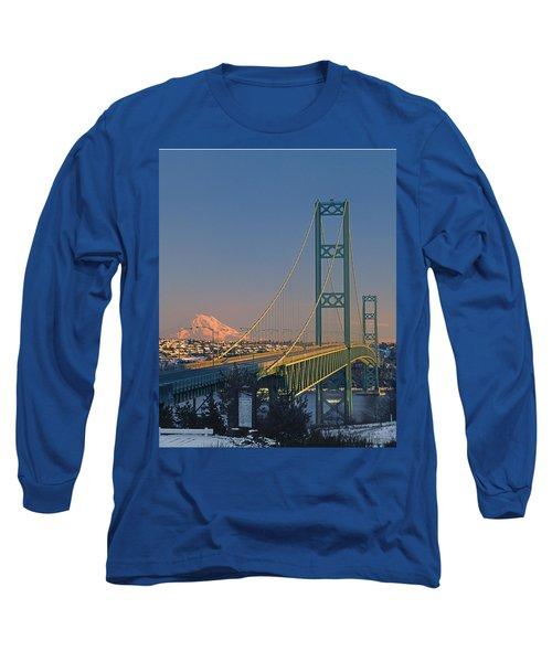 1a4y20-v-sunset On Rainier With The Tacoma Narrows Bridge Long Sleeve T-Shirt