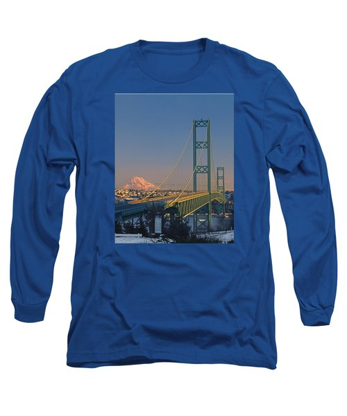 1a4y20-v-sunset On Rainier With The Tacoma Narrows Bridge Long Sleeve T-Shirt