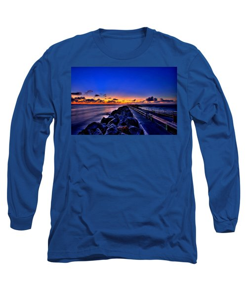 Long Sleeve T-Shirt featuring the painting Sunrise On The Pier by Bruce Nutting