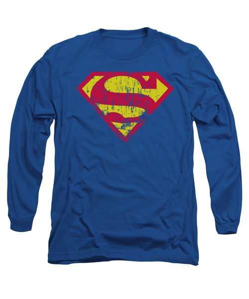 Superman - Classic Logo Distressed Long Sleeve T-Shirt