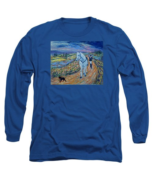 Long Sleeve T-Shirt featuring the painting Take Me Home My Friend by Xueling Zou