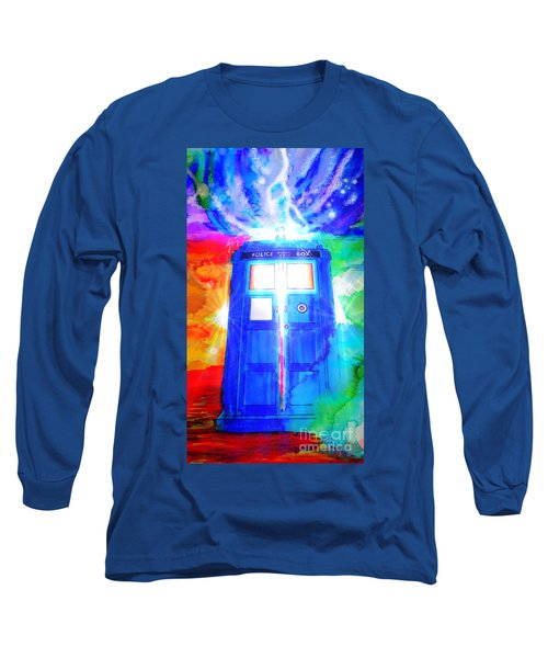 Tardis Long Sleeve T-Shirt by Justin Moore