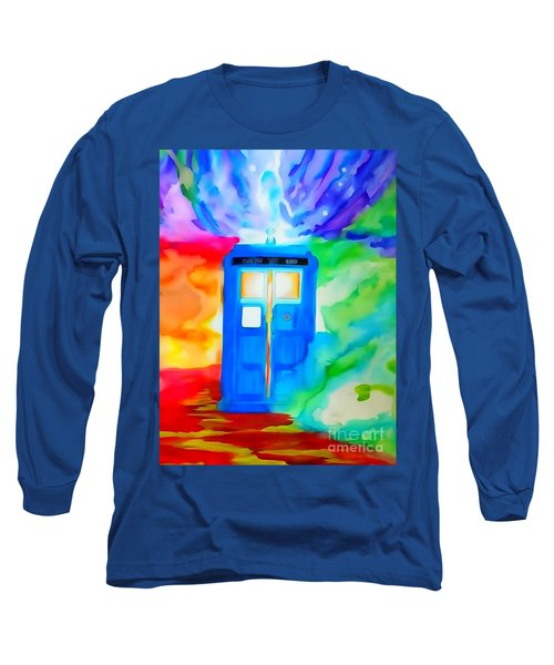 Tardis Watercolor Edition Long Sleeve T-Shirt by Justin Moore