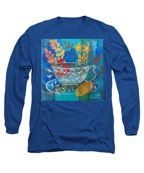 Long Sleeve T-Shirt featuring the painting Tea With Biscuit by Robin Maria Pedrero