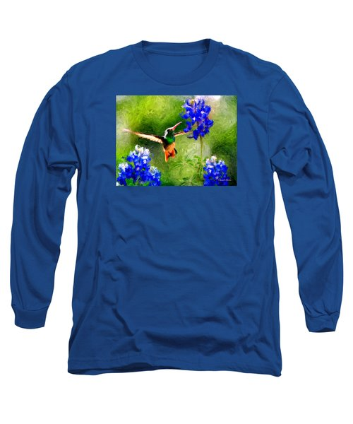 Da161 Texas Bluebonnet Hummingbird By Daniel Adams Long Sleeve T-Shirt