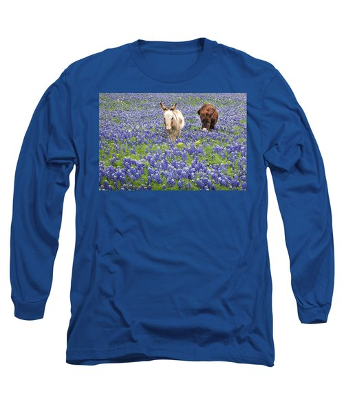 Long Sleeve T-Shirt featuring the photograph Texas Donkeys And Bluebonnets - Texas Wildflowers Landscape by Jon Holiday