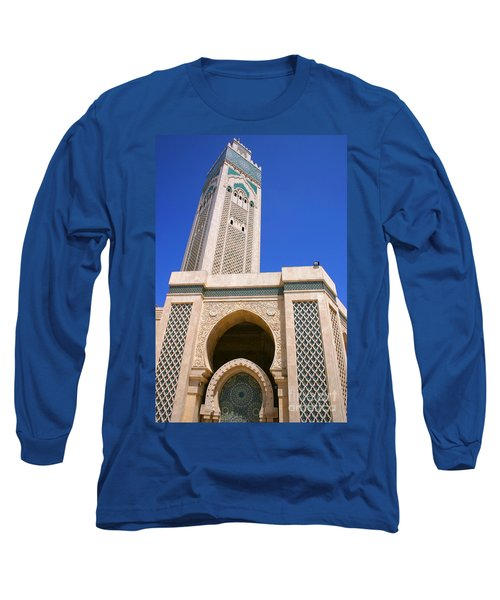The Hassan II Mosque Grand Mosque With The Worlds Tallest 210m Minaret Sour Jdid Casablanca Morocco Long Sleeve T-Shirt by Ralph A  Ledergerber-Photography