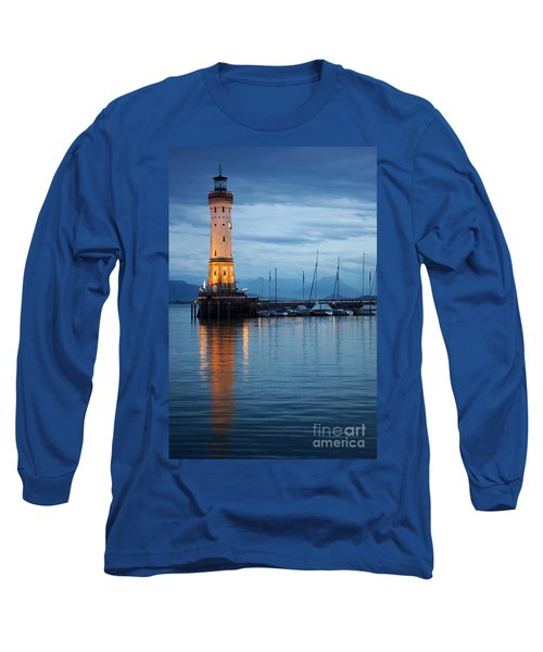The Lighthouse Of Lindau By Night Long Sleeve T-Shirt