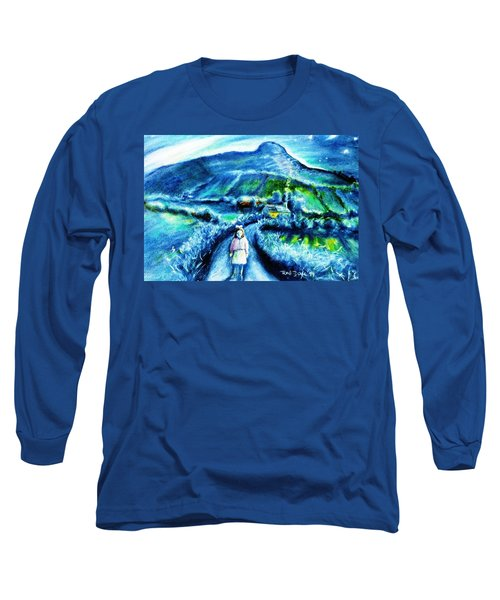 Long Sleeve T-Shirt featuring the painting The White Ribbon - Eagle Hill  by Trudi Doyle