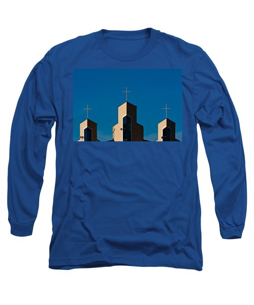 Long Sleeve T-Shirt featuring the photograph Three Crosses Of Livingway Church  by Ed Gleichman