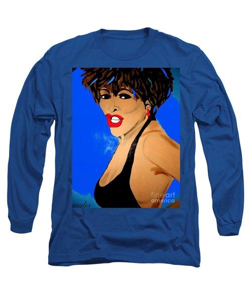 Tina Turner Fierce Blue Impression Long Sleeve T-Shirt