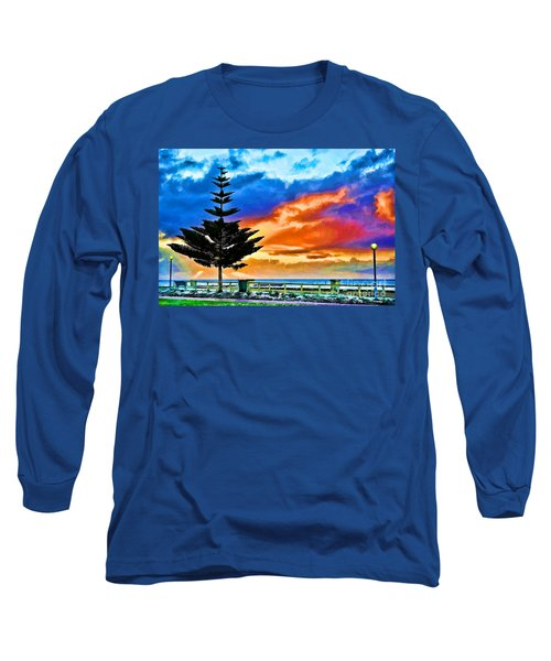 Long Sleeve T-Shirt featuring the photograph Tree And Sunset by Yew Kwang
