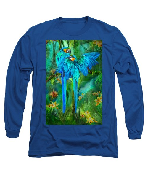 Long Sleeve T-Shirt featuring the mixed media Tropic Spirits - Gold And Blue Macaws by Carol Cavalaris