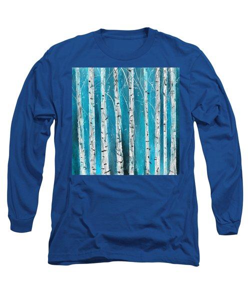 Turquoise Birch Trees II- Turquoise Art Long Sleeve T-Shirt