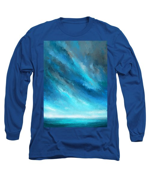 Turquoise Memories - Turquoise Abstract Art Long Sleeve T-Shirt