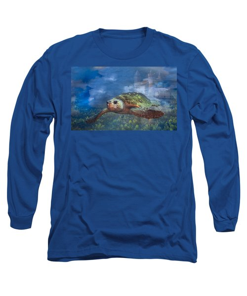 Turtle In Atlantis Long Sleeve T-Shirt