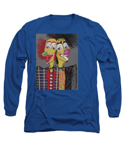 Long Sleeve T-Shirt featuring the painting Two Heads Are Better Then One by Nora Shepley