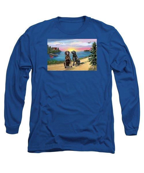 Two Labs At The Lake Long Sleeve T-Shirt