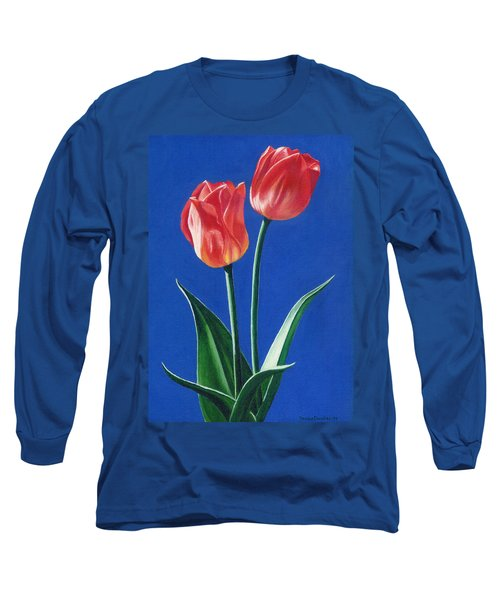 Long Sleeve T-Shirt featuring the painting Two Tulips by Janice Dunbar