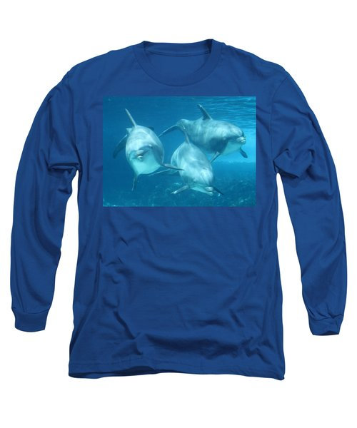 Underwater Dolphin Encounter Long Sleeve T-Shirt by David Nicholls
