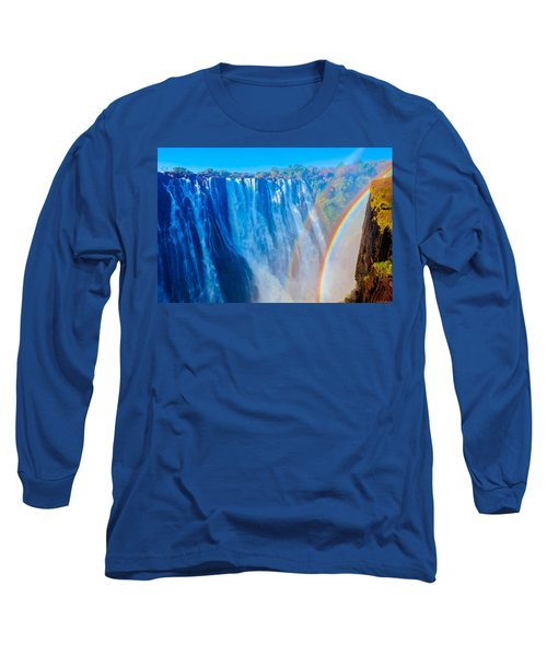 Victoria Falls Double Rainbow Long Sleeve T-Shirt by Jeff at JSJ Photography